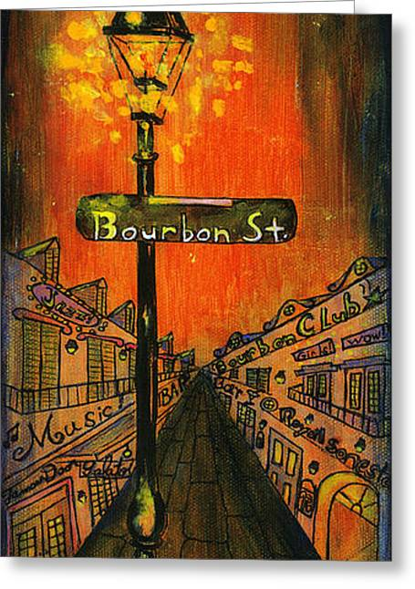 Lamp Post Greeting Cards - Bourbon Street lamp post Greeting Card by Catherine Wilson