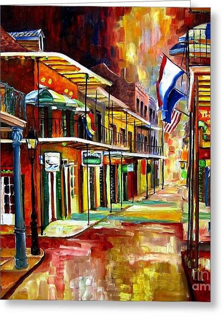 Bourbon Street Greeting Cards - Bourbon Street Lights Greeting Card by Diane Millsap