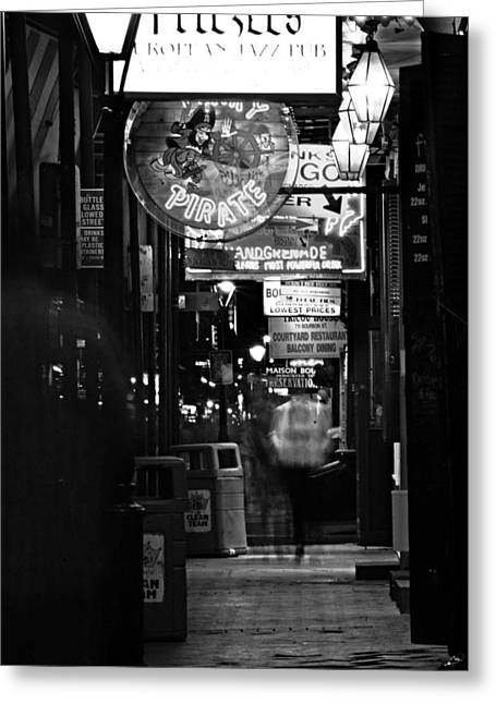Pirates Greeting Cards - Bourbon Street Sidewalk in Black and White Greeting Card by Greg Mimbs