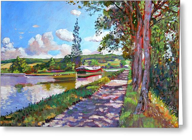 Shady Greeting Cards - Bourgogne Canal Greeting Card by David Lloyd Glover