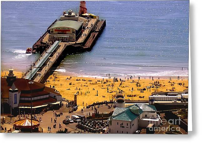 Sand Castles Greeting Cards - Bournemouth beach and pier Greeting Card by F Helm
