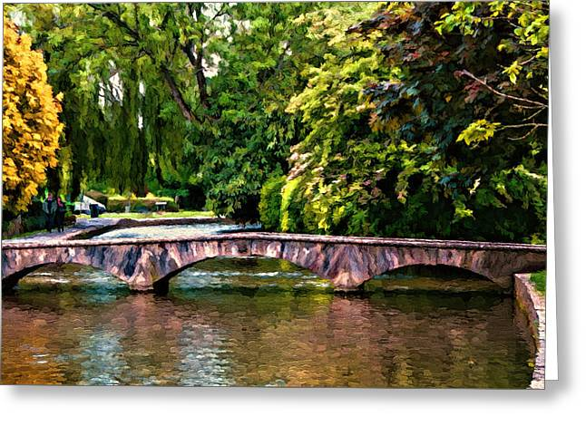 Stream Digital Art Greeting Cards - Bourton-on-the-Water Greeting Card by John K Woodruff