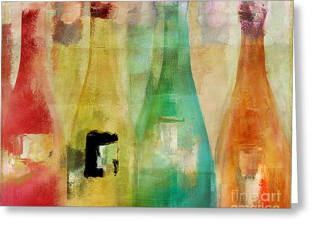 Colorful Bottles Greeting Cards - Bouteilles Greeting Card by Mindy Sommers