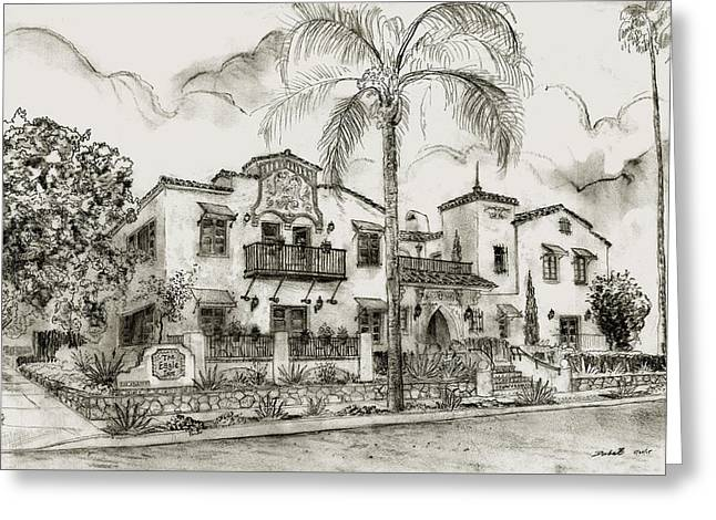 Beach In Santa Barbara Greeting Cards - Boutique Hotel in Santa Barbara Greeting Card by Jeff Doubet
