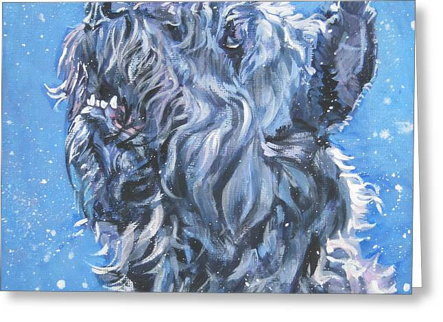 Bouvier Des Flandres snow Greeting Card by Lee Ann Shepard
