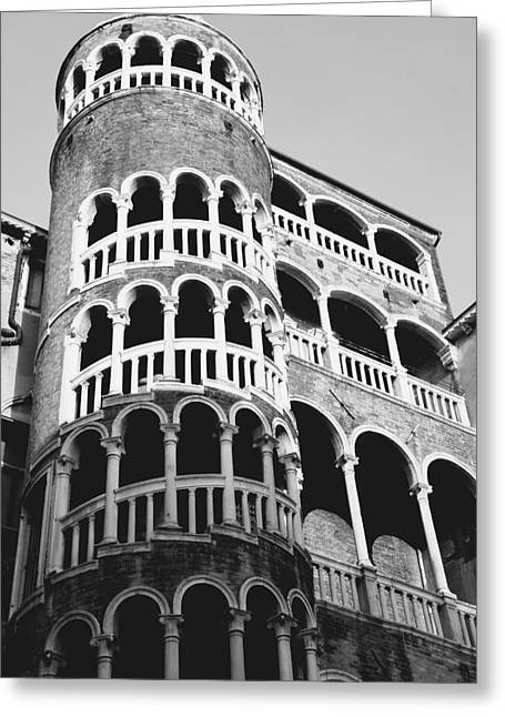 Bovolo Staircase In Venice Black And White Greeting Card by Michael Henderson