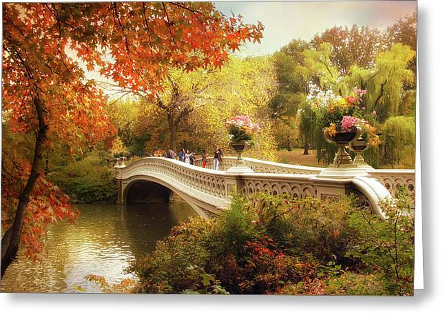 Bow Bridge Autumn Crossing Greeting Card by Jessica Jenney