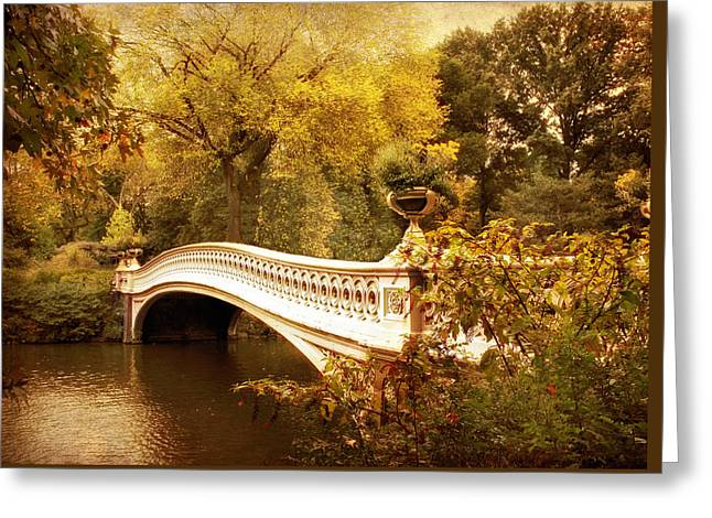 Famous Bridge Greeting Cards - Bow Bridge Autumn Gold Greeting Card by Jessica Jenney