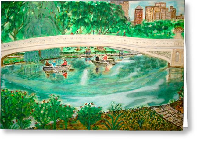 Bow Bridge Central Park Greeting Card by Felix Zapata