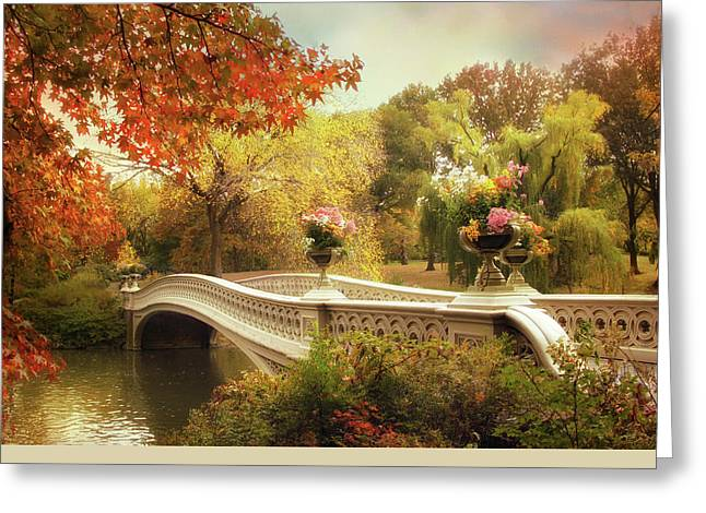 Footbridge Greeting Cards - Bow Bridge Crossing Greeting Card by Jessica Jenney