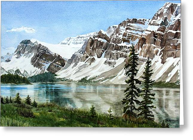 Mountains Greeting Cards - Bow Lake Alberta No.2 Greeting Card by Debbie Homewood