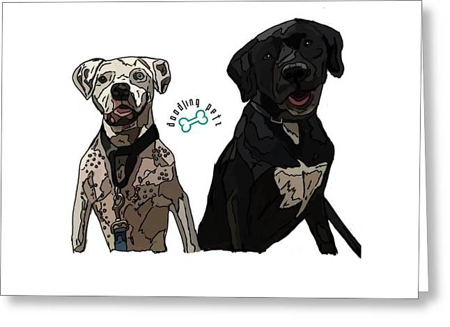 Boxer Digital Art Greeting Cards - Bowie and Nala Greeting Card by Doodling  Petz