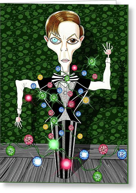 Bowie Christmas Tree  Greeting Card by Andrew Hitchen