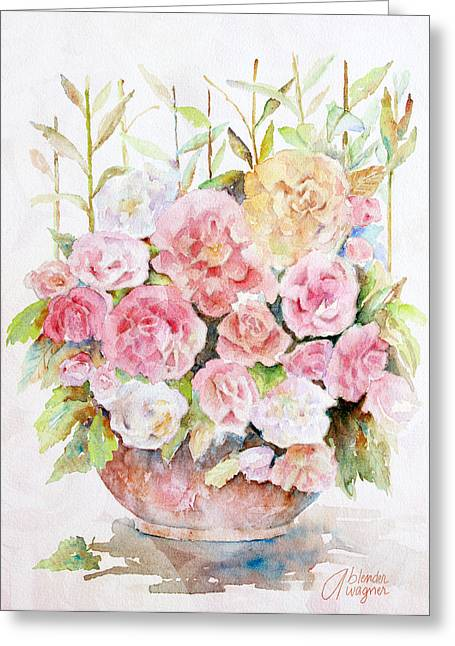 Bowl Full Of Roses Greeting Card by Arline Wagner