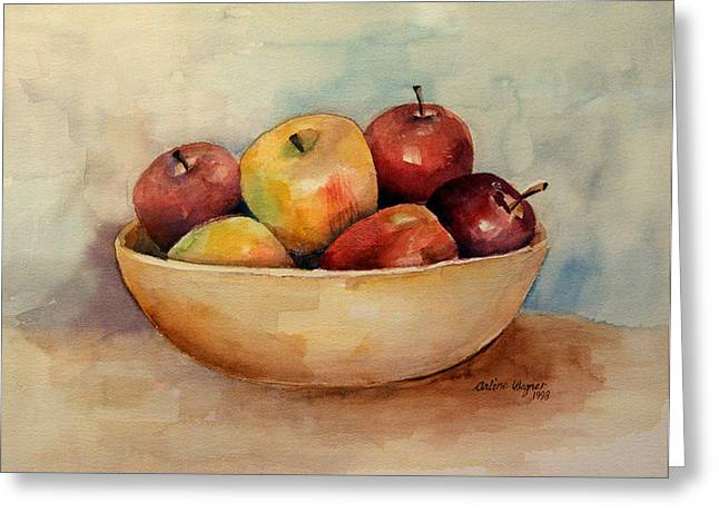 Bowl Of Apples Greeting Card by Arline Wagner