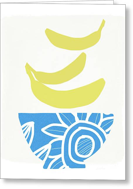 Bowl Of Bananas- Art By Linda Woods Greeting Card by Linda Woods