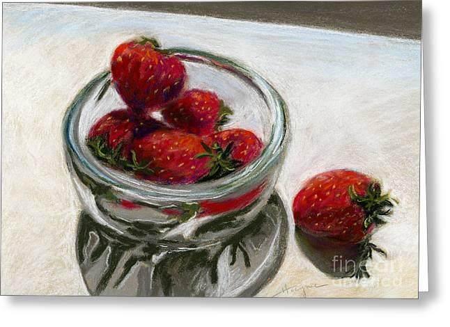 Bowl Pastels Greeting Cards - Bowl of Berries Greeting Card by Addie Hocynec