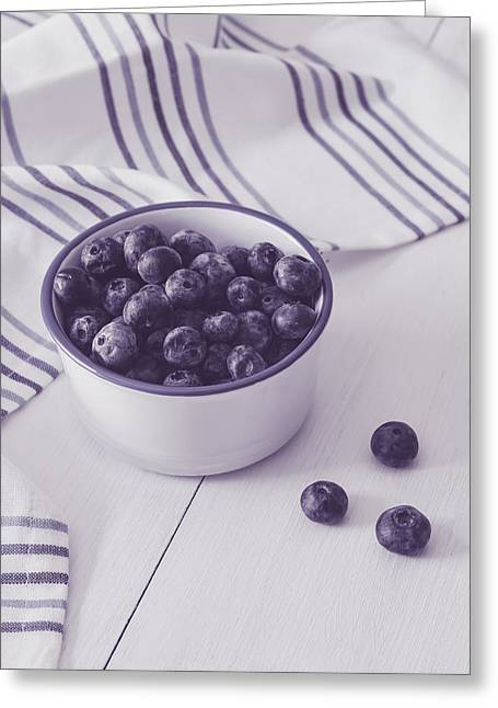 Berry Greeting Cards - Bowl of Blueberries Greeting Card by Kim Hojnacki