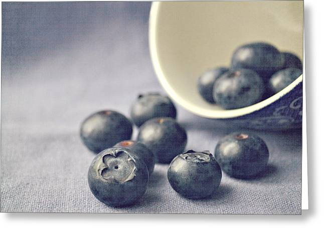 Fruit Greeting Cards - Bowl of Blueberries Greeting Card by Lyn Randle