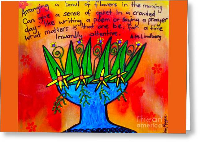 Ply Greeting Cards - Bowl Of Flowers Greeting Card by Kim Magee ART