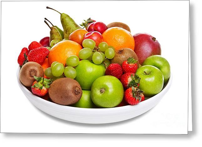 Bowl Of Fresh Fruit Isolated On White Greeting Card by Richard Thomas
