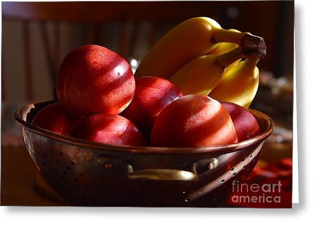 Bowl Of Fruit Bananas Peaches Greeting Card by R Muirhead Art