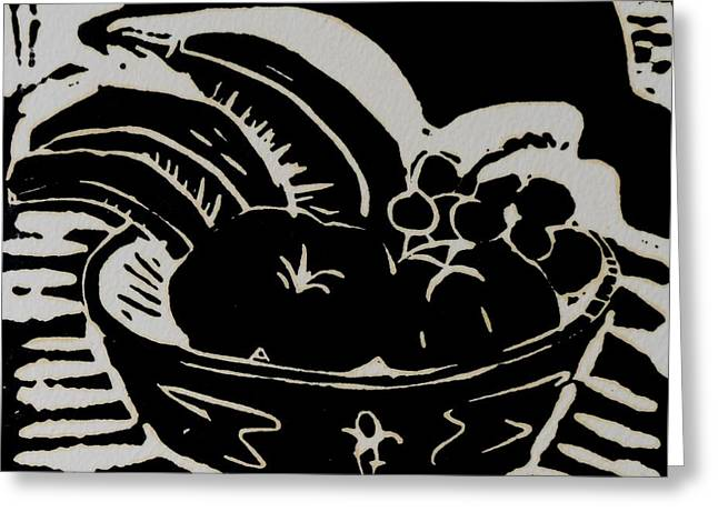 Carolinestreetart Greeting Cards - Bowl of Fruit Lino Print Greeting Card by Caroline Street