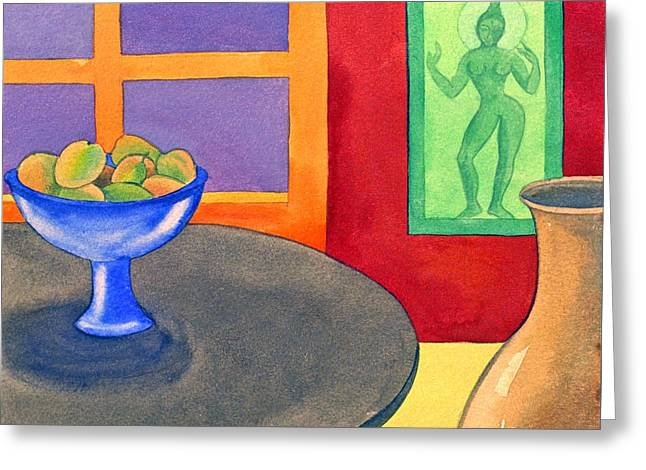 Interior Still Life Paintings Greeting Cards - Bowl of Mangoes Greeting Card by Jennifer Baird