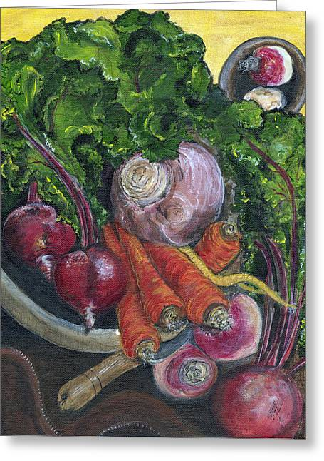Romaine Paintings Greeting Cards - Bowl of Plenty Greeting Card by Jill Hershock