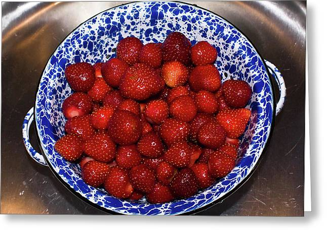 Revelry Greeting Cards - Bowl of Strawberries 1 Greeting Card by Douglas Barnett