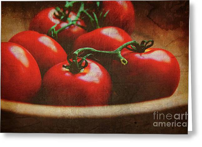 Wooden Bowls Photographs Greeting Cards - Bowl of tomatoes Greeting Card by Toni Hopper