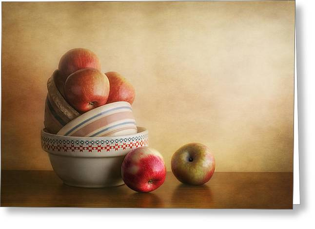 Bowls And Apples Still Life Greeting Card by Tom Mc Nemar