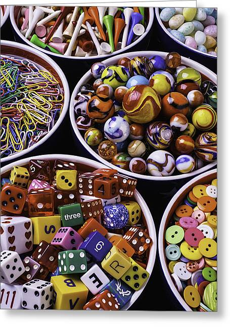 Sewing Supplies Greeting Cards - Bowls Full Of Marbles And Dice Greeting Card by Garry Gay