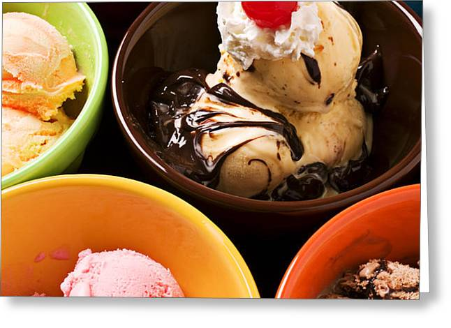 Bowls of different flavor ice creams Greeting Card by Garry Gay