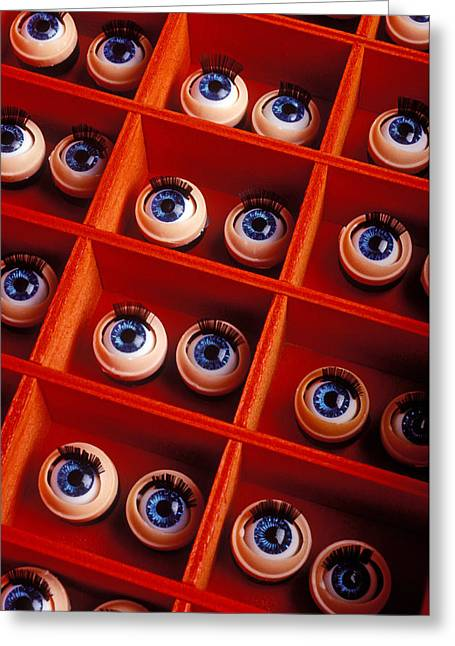 Compartments Greeting Cards - Box Full Of Doll Eyes Greeting Card by Garry Gay