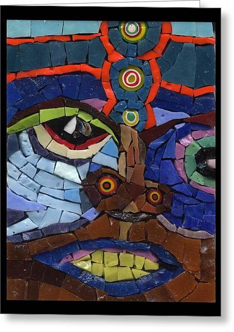 Abstract Expression Glass Greeting Cards - Boxer - Fantasy Face No. 9 Greeting Card by Gila Rayberg
