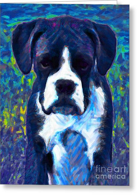 Puppies Digital Greeting Cards - Boxer 20130126v5 Greeting Card by Wingsdomain Art and Photography