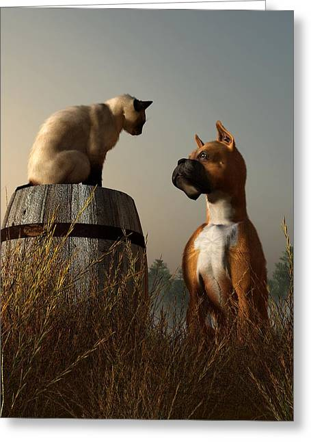 Dog Vs Cat Greeting Cards - Boxer and Siamese Greeting Card by Daniel Eskridge