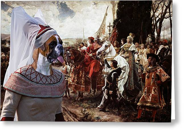 Boxer Dog Art Print Greeting Cards - Boxer Art Canvas Print - The reverence to the Queen  Greeting Card by Sandra Sij