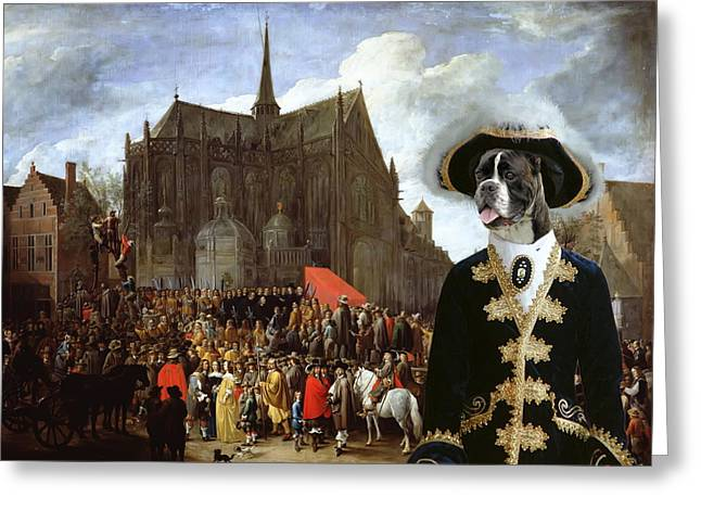 Boxer Dog Art Print Greeting Cards - Boxer Art Canvas Print - Waiting for the statue of Mary Greeting Card by Sandra Sij