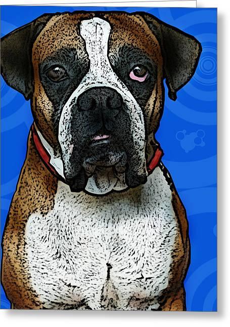 Boxer Greeting Card by Bibi Romer