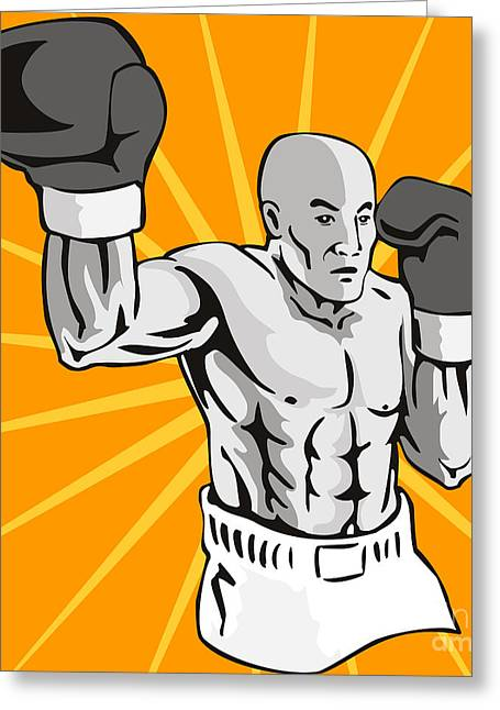 Punching Digital Greeting Cards - Boxer Boxing Knockout Punch Retro Greeting Card by Aloysius Patrimonio