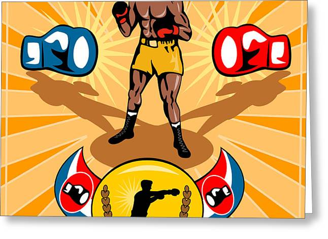 Boxer Boxing poster Greeting Card by Aloysius Patrimonio