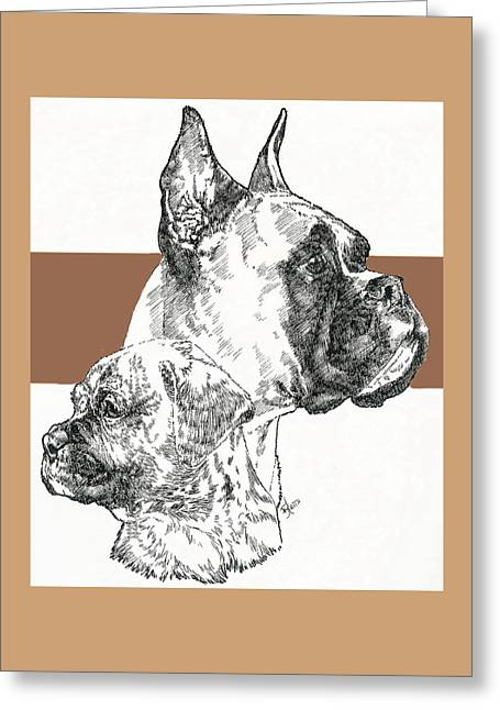 Working Dog Greeting Cards - Boxer -cropped- Father and Son Greeting Card by Barbara Keith