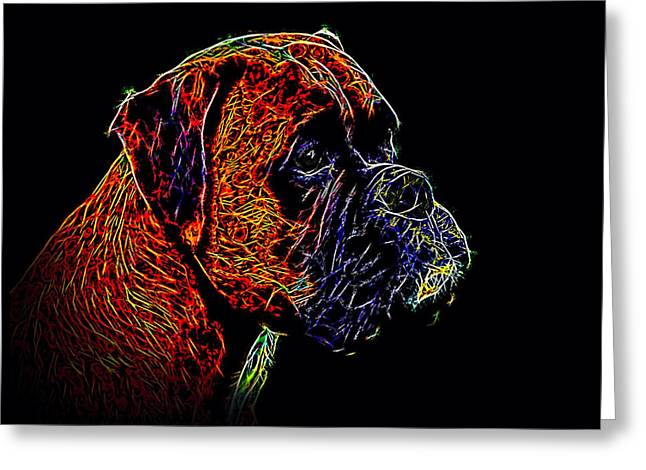 Boxer Abstract Art Greeting Cards - Boxer Dog Greeting Card by Alexey Bazhan