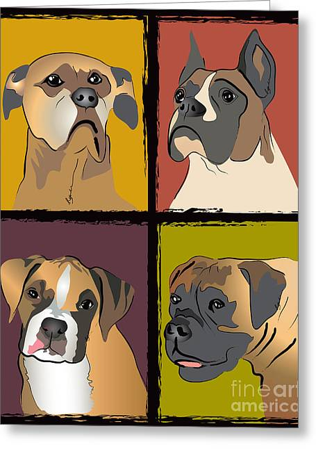 Boxer Digital Greeting Cards - Boxer Dog Portraits Greeting Card by Robyn Saunders