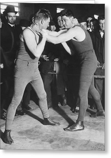 Boxer Frank Moran In Training Greeting Card by Underwood Archives