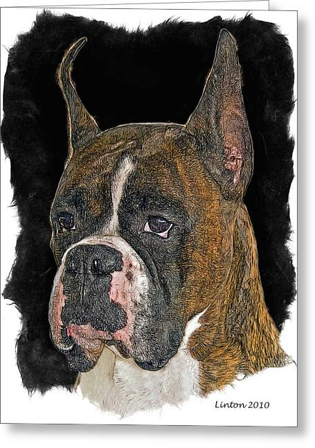 Boxer Greeting Card by Larry Linton