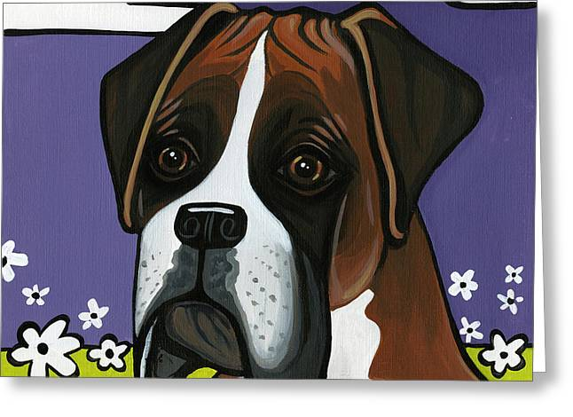 Boxer Dog Greeting Cards - Boxer Greeting Card by Leanne Wilkes