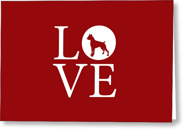 Boxer Love Red Greeting Card by Nancy Ingersoll